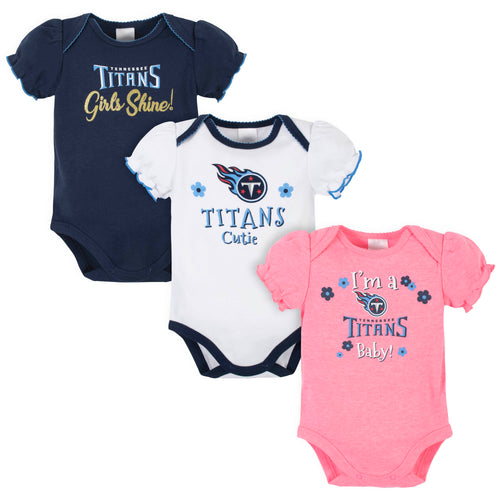 Titans Girls Shine 3-Pack Short Sleeve Bodysuits