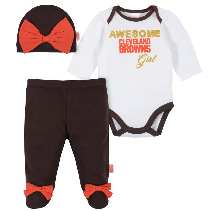 Awesome Browns Baby Girl Bodysuit, Footed Pant & Cap Set