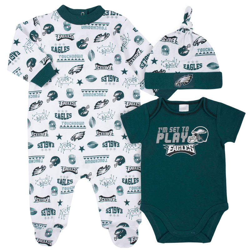Eagles Baby Boys 3-Piece Bodysuit, Sleep 'N Play, and Cap Set