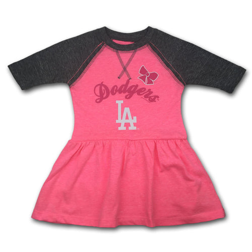 Dodgers Toddler Pink Baseball Shirt Dress