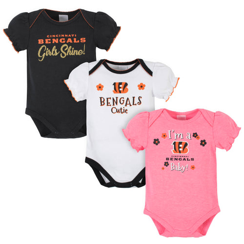 Bengals Girls Shine 3-Pack Short Sleeve Bodysuits