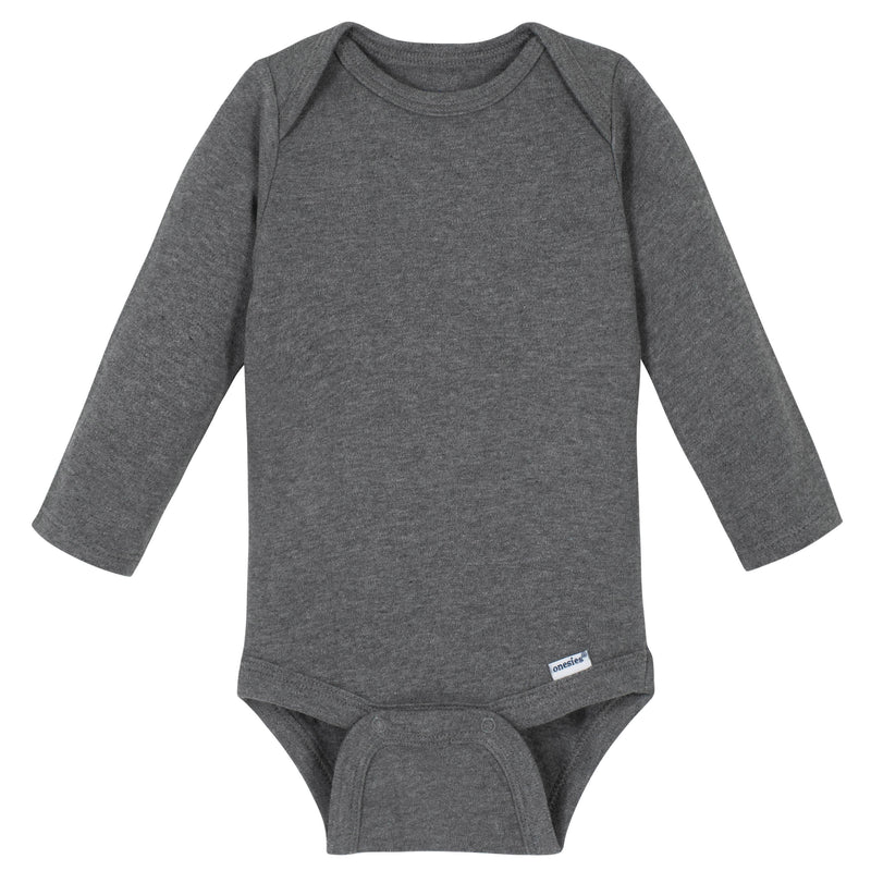 Gray Classic Long Sleeve Onesies® Brand Bodysuit