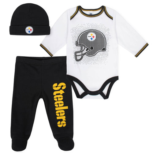 Steelers Baby Boys 3-Piece Bodysuit, Pant, and Cap Set