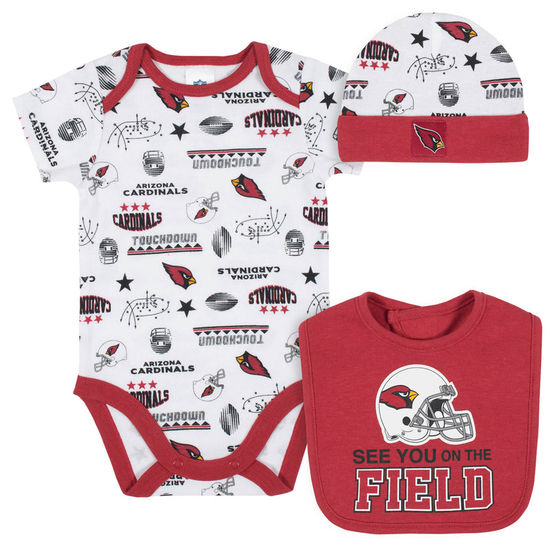 Cardinals Baby Boys 3-Piece Bodysuit, Bib, and Cap Set
