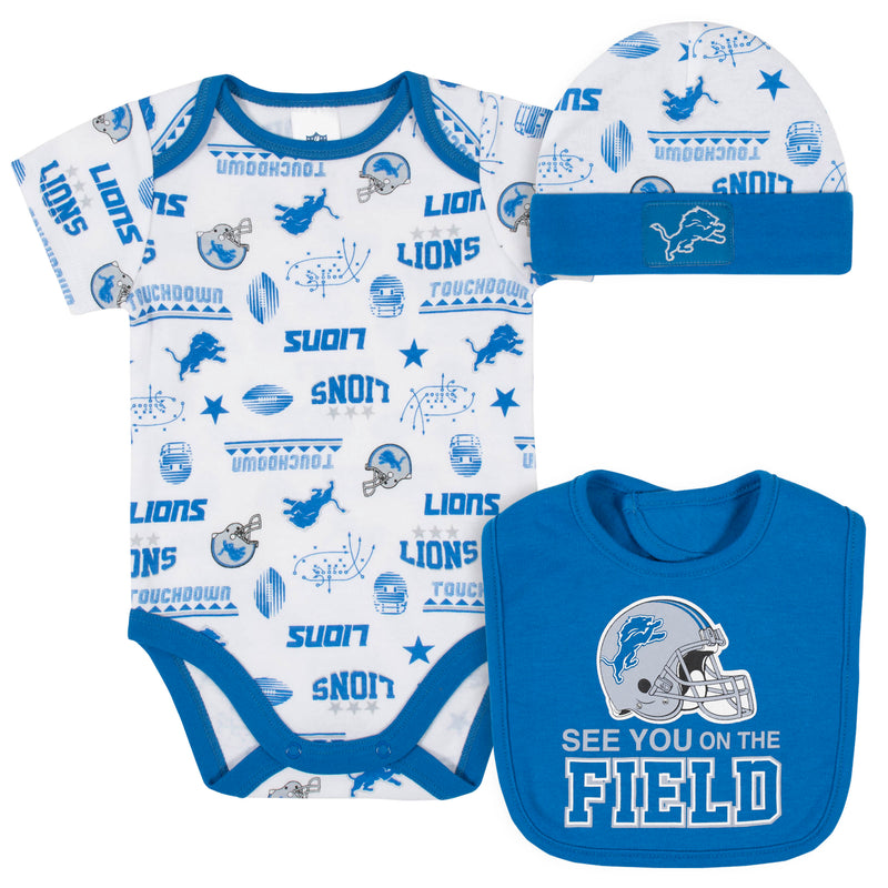 Lions Baby Boys 3-Piece Bodysuit, Bib, and Cap Set