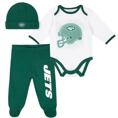 Jets Baby Boys 3-Piece Bodysuit, Pant, and Cap Set