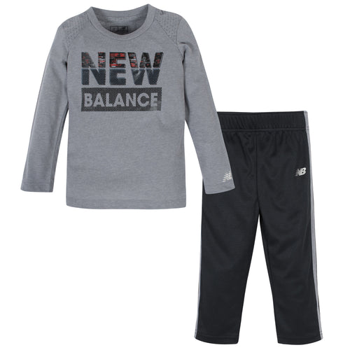 New Balance 2-Piece Boys Grey Heather Long Sleeve Shirt and Pant Set