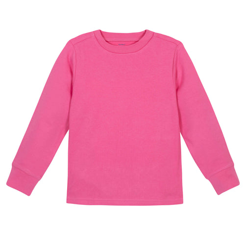 Girls Hot Pink Classic Long Sleeve Tee Shirt