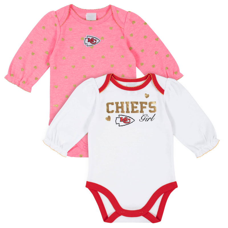 Chiefs Baby Girls 2-Pack Long Sleeve Bodysuits