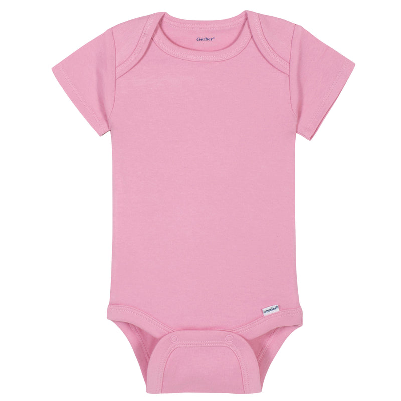 Girls Light Pink Classic Short Sleeve Onesies® Brand Bodysuit