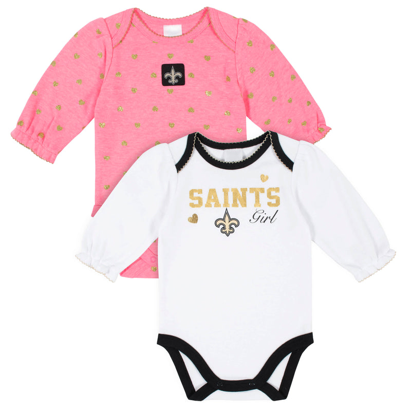 Saints Baby Girls 2-Pack Long Sleeve Bodysuits