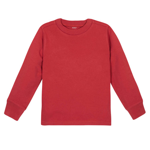 Red Classic Long Sleeve Tee Shirt