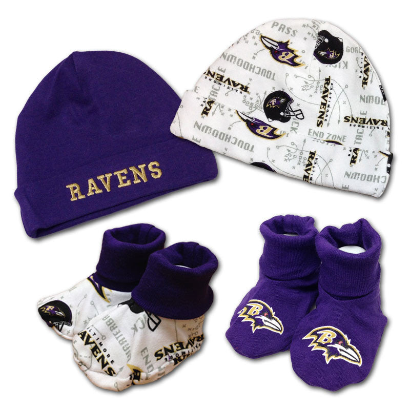 Ravens 4pc Baby Knit Hats and Booties