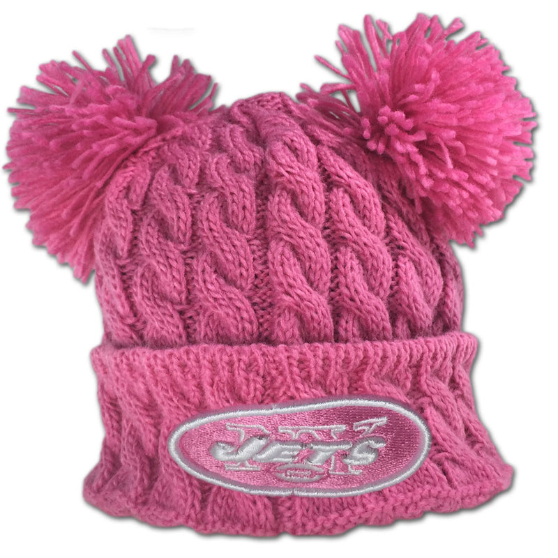 Jets Pink Double Pom Pom Hat