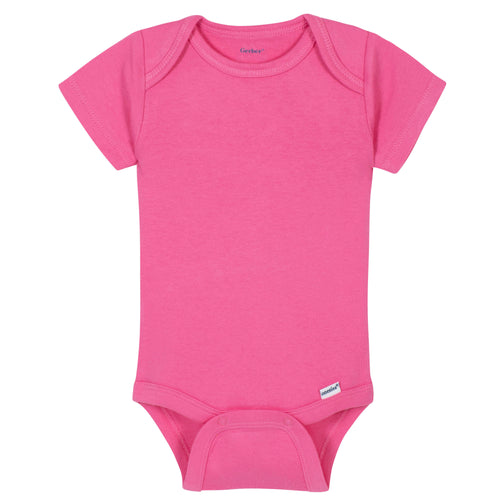 Girls Hot Pink Classic Short Sleeve Onesies® Brand Bodysuit