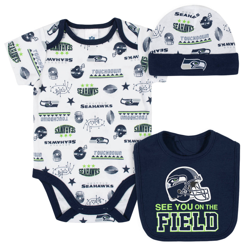 Seahawks Baby Boys 3-Piece Bodysuit, Bib, and Cap Set
