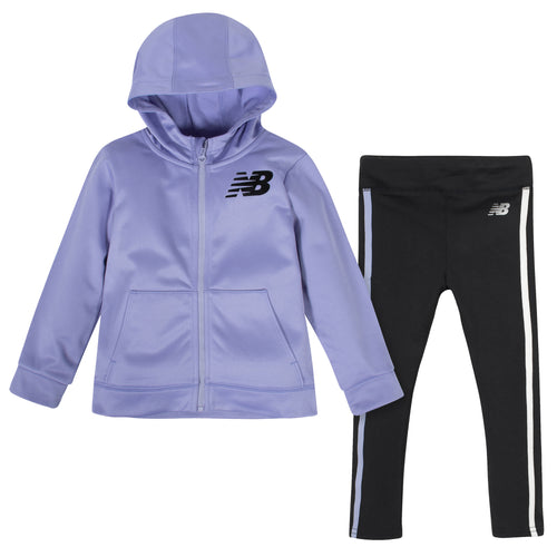 New Balance 2-Piece Girls Clear Amethyst/Black Fleece Hooded Jacket and Tight Set