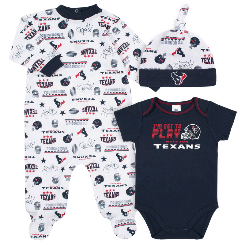 Texans Baby Boys 3-Piece Bodysuit, Sleep 'N Play, and Cap Set