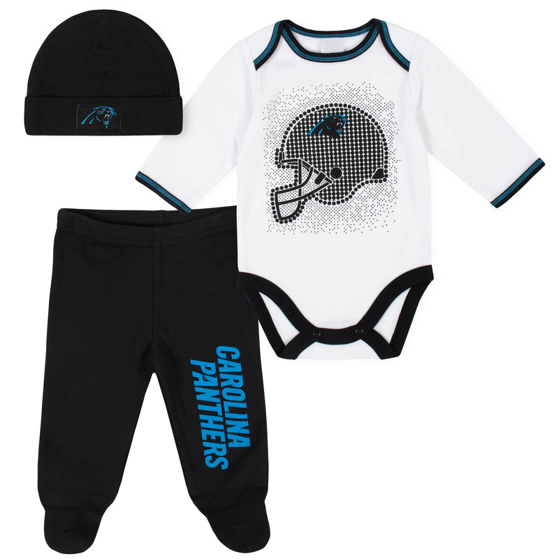 Panthers Baby Boys 3-Piece Bodysuit, Pant, and Cap Set