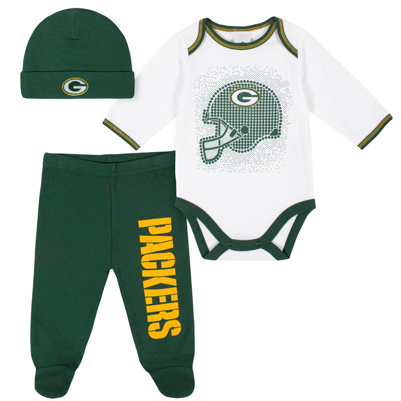 Packers Baby Boys 3-Piece Bodysuit, Pant, and Cap Set