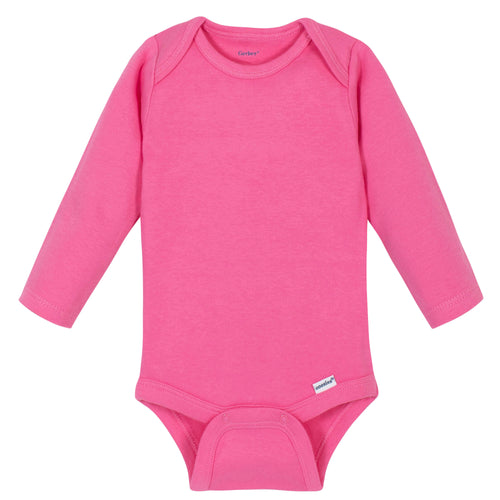 Girls Hot Pink Classic Long Sleeve Onesies® Brand Bodysuit