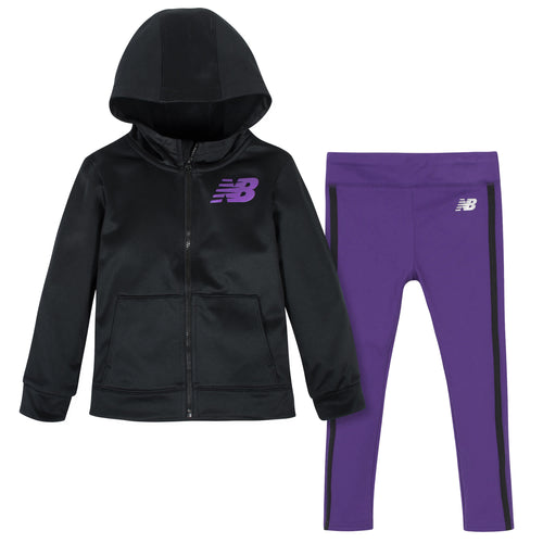 New Balance 2-Piece Girls Black/Prism Purple Fleece Hooded Jacket and Tight Set