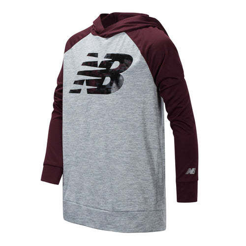 New Balance Boys Burgundy/Steel Long Sleeve Hooded Performance Top