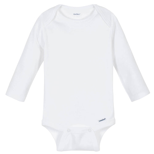 White Classic Long Sleeve Onesies® Brand Bodysuit