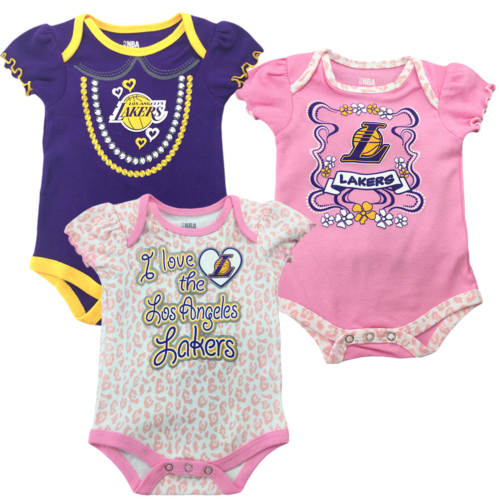 d0e9ab2d Lakers Girl 3 Pack Short Sleeve Creepers – babyfans