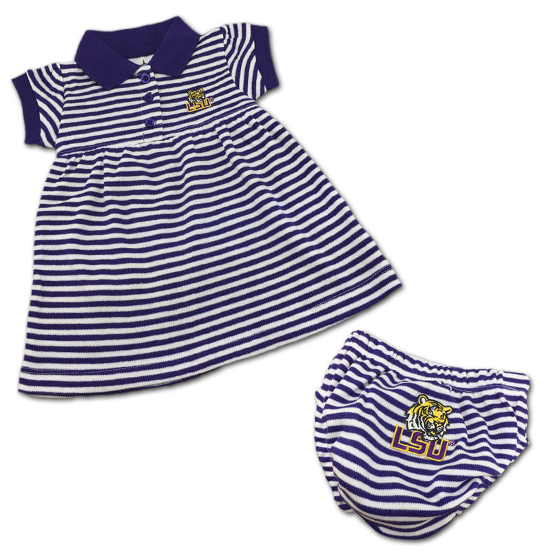 LSU Tigers Striped Polo Dress with Bloomers