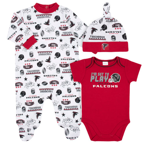 Falcons Baby Boys 3-Piece Bodysuit, Sleep 'N Play, and Cap Set