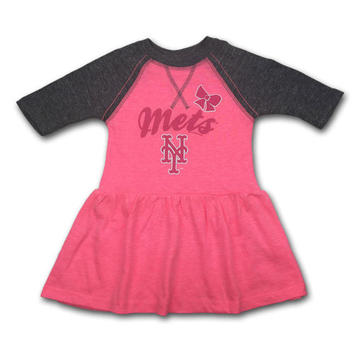 Mets Toddler Pink Baseball Shirt Dress