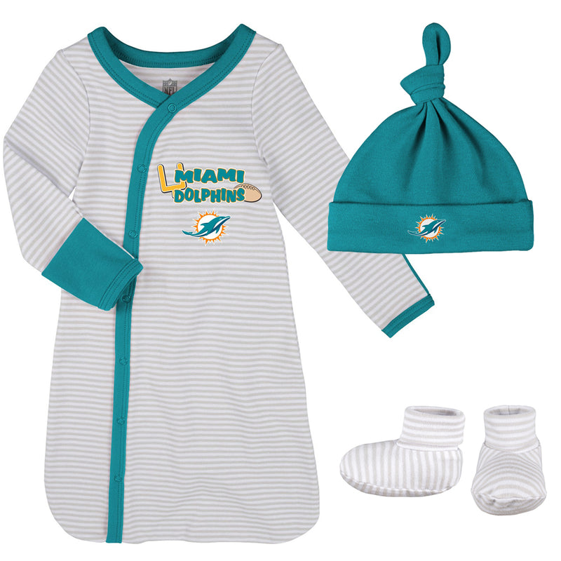Dolphins Newborn Gown, Cap, and Booties