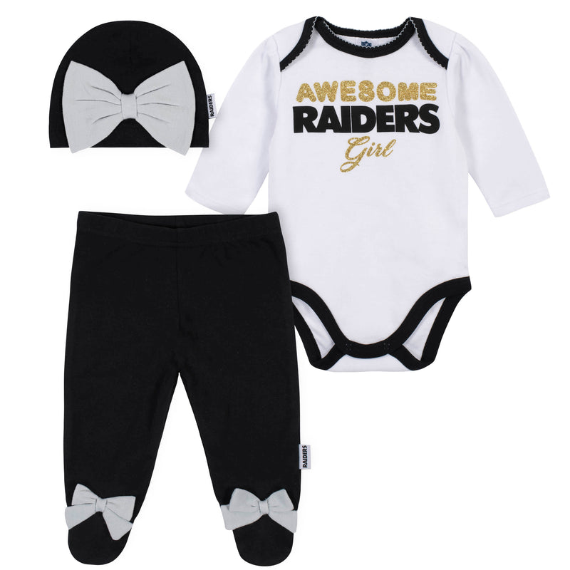 Awesome Raiders Baby Girl Bodysuit, Footed Pant & Cap Set