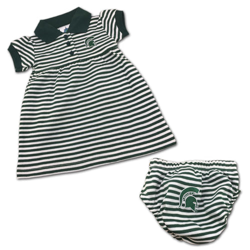 Michigan State Striped Polo Dress with Bloomers