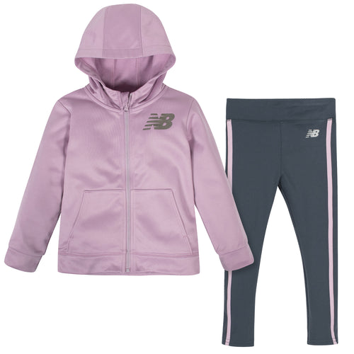 New Balance 2-Piece Girls Oxygen Pink/Thunder Fleece Hooded Jacket and Tight Set