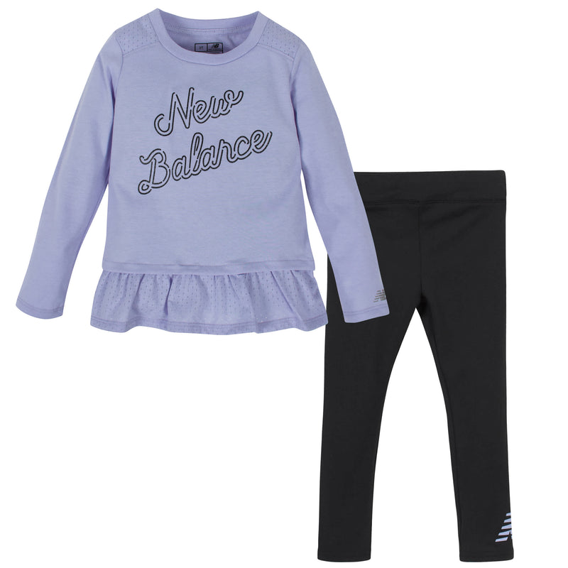 New Balance 2-Piece Girls Clear Amethyst/Black Long Sleeve Top and Tights Set
