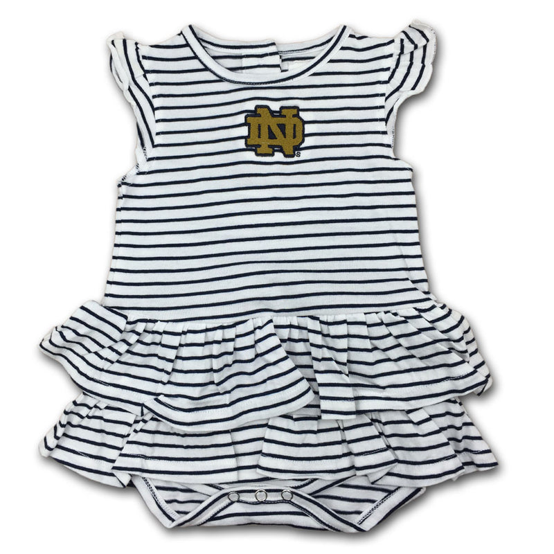 Notre Dame Stripes 'n Ruffles Skirted Romper