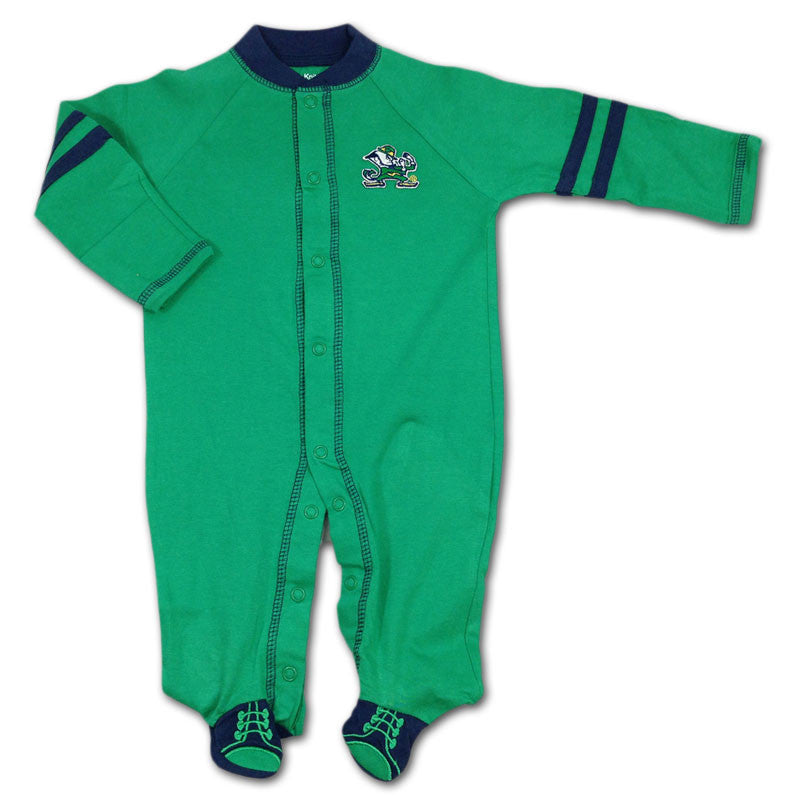 Green Notre Dame Sports Shoe Baby Sleeper