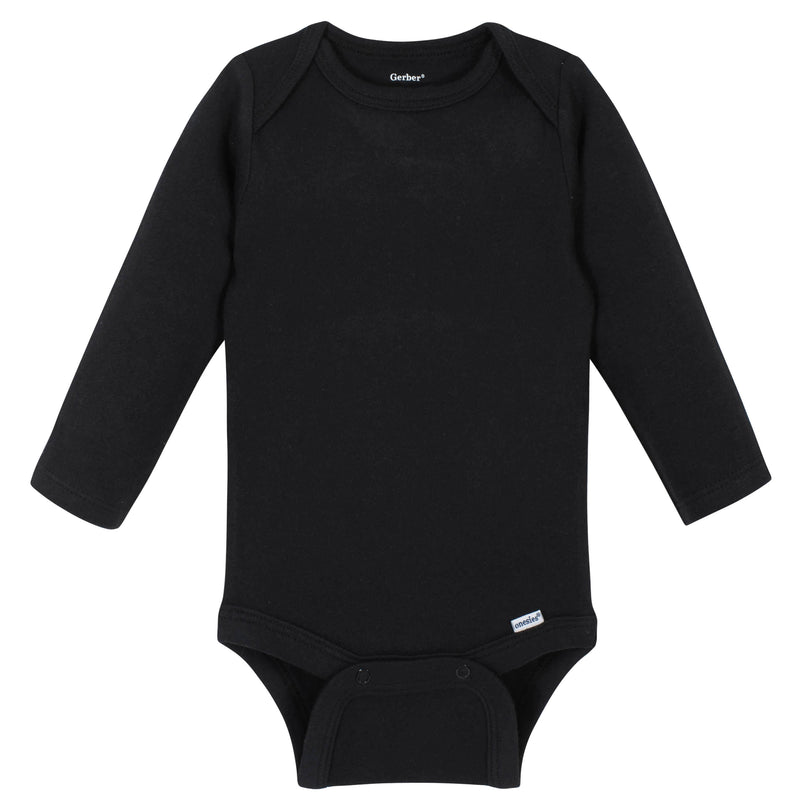 Boys Black Classic Long Sleeve Onesies® Brand Bodysuit