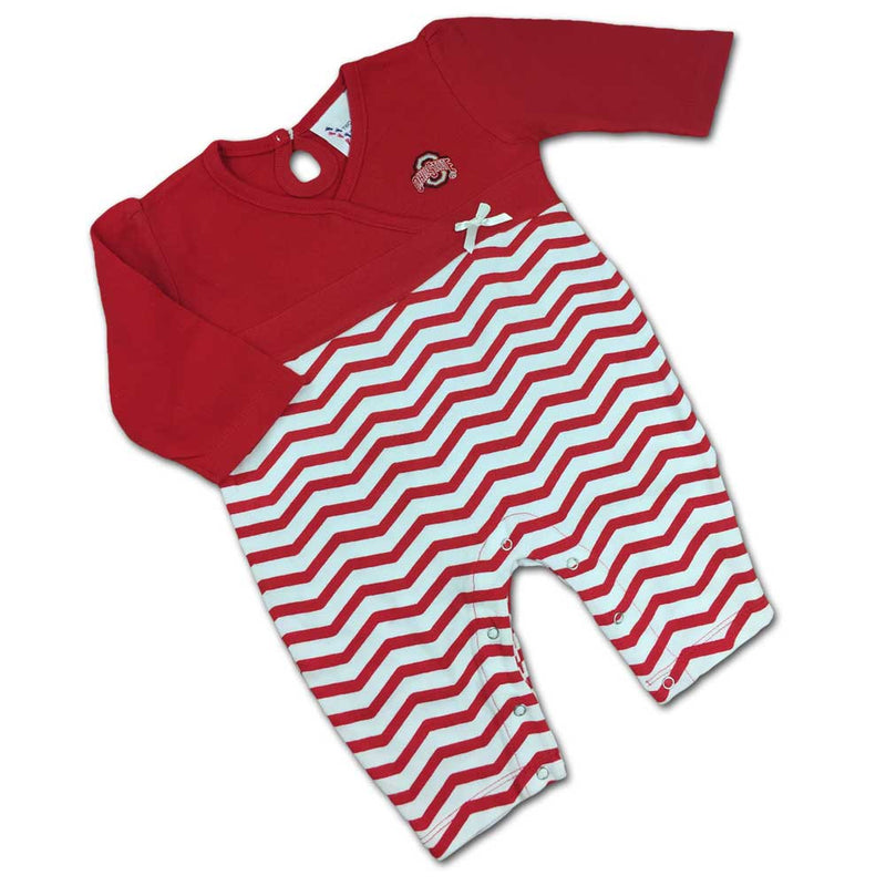 OSU Chevron Baby Girl Coverall