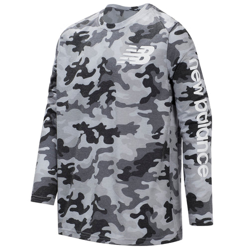 New Balance Boys Camo Gray Long Sleeve Performance Tee