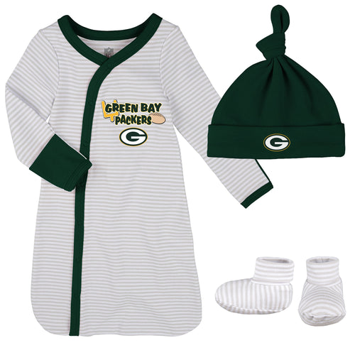 Packers Newborn Gown, Cap, and Booties