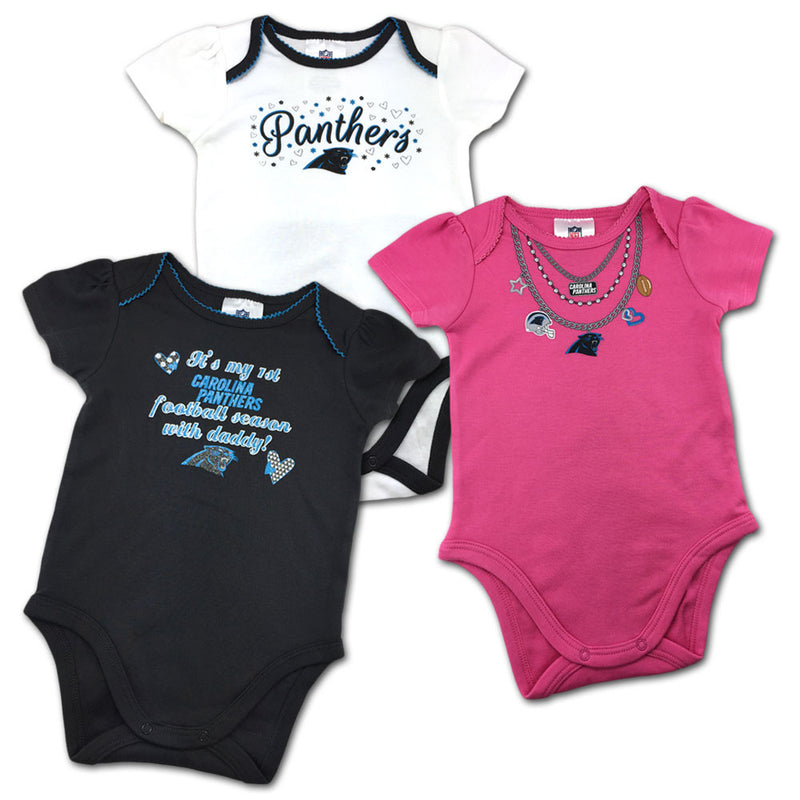 Baby Panthers Girl Onesie 3 Pack