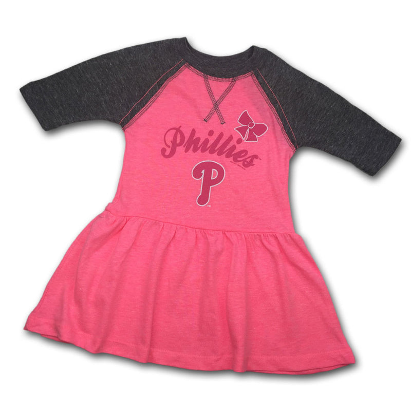 Phillies Toddler Pink Baseball Shirt Dress