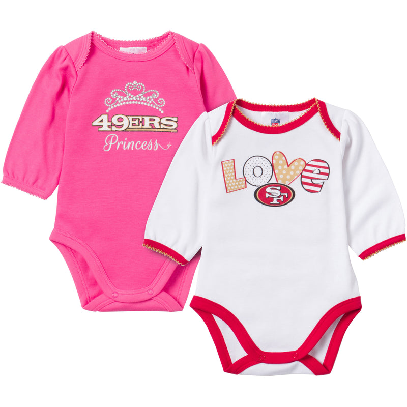 Baby 49ers Girl Long Sleeve Onesie 2 Pack