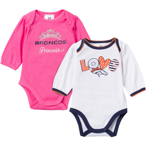 Baby Broncos Girl Long Sleeve Onesie 2 Pack