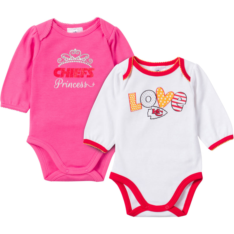 Baby Chiefs Girl Long Sleeve Onesie 2 Pack