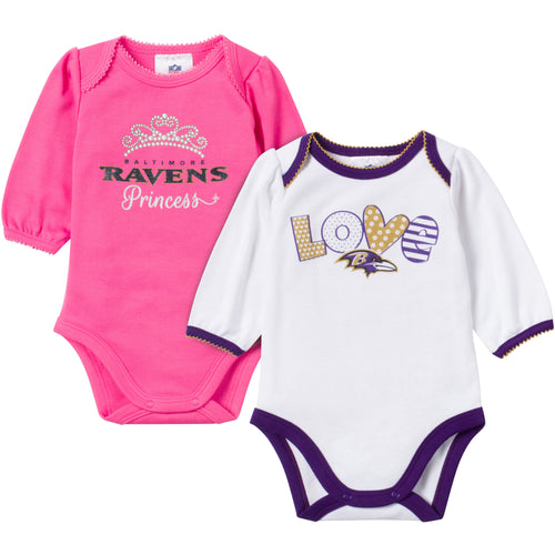 Ravens Baby Girl Long Sleeve Onesies