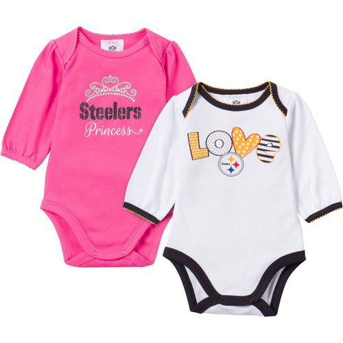 Baby Steelers Girl Long Sleeve Onesie 2 Pack